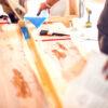 Treatment of wood with epoxy and varnish. Manufacturing of futni